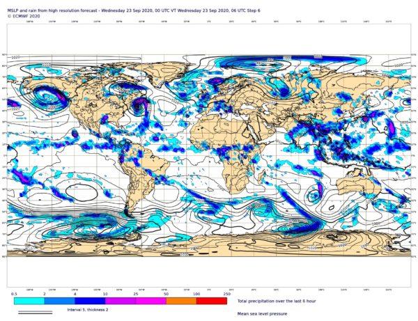 Les prévisions des précipitations et de la pression au niveau moyen de la mer ne sont qu'un exemple parmi les centaines de cartes du CEPMMT qui seront mises à disposition.