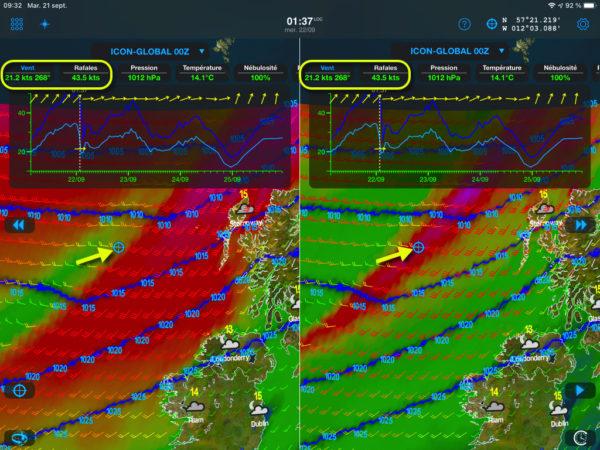 A gauche le dégradé de couleurs représente la vitesse du vent moyen. A droite il représente l'écart entre la vitesse du vent moyen et celle des rafales. Dans le météogramme la courbe du vent moyen est dessinée en bleu clair, celle des rafales en bleu foncé.